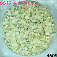 3500pcs SS19 White AB Hot-fix Crystal Acryl Rhinestone Round Beads flatback