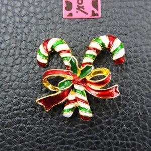 Betsey Johnson Red Green Enamel Crystal Christmas Gift Bowknot Charm Brooch Pin