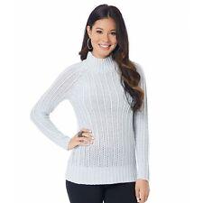 Ladies Turtleneck Light Gray Heather Sweater -Large daisy fuentes Textured NWT
