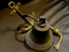 "6"" Solid Brass SHIPS BELL Vintage with ANCHOR BRACKET NAUTICAL Marine NAVIGATION"
