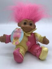 "Vintage Russ Berrie 6"" Clown Jester Baby Troll Pink/Yellow Soft Body Pink Hair"