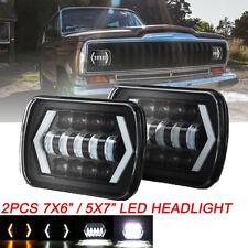 2X Square H6014/H6054 7x6'' LED Headlight Hi-Lo Beam Halo DRL Bulb For Jeep XJ