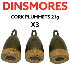 DINSMORES NON TOXIC CORK PLUMMETS SET OF THREE 21g - COARSE FISHING TACKLE