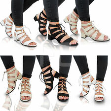 NEW LADIES LOW HEEL BLOCK LACE UP GLADIATOR CUT OUT PEEP TOE SANDALS SHOES SIZE