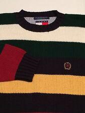 VTG TOMMY HILFIGER Mens Crew Neck Color Block Sweater With Lion Crest, Size M