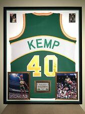 Premium Framed Shawn Kemp Autographed Seattle Supersonics Jersey Signed JSA COA