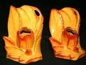 VINTAGE NELSON McCOY POTTERY 1940 PAIR OF ORANGE PLANTER BOOKENDS-#BE-4