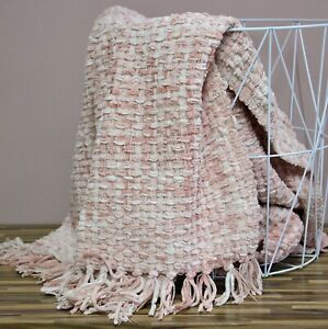 Luxury Woven Knitted Soft Thick Blush Pink Bed Sofa Throw Large Fringed Blanket