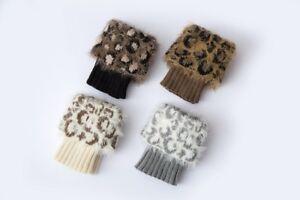 Animal Print Women Leg Warmers Winter Faux Fur Leggings Xmas Knitted Socks Gifts