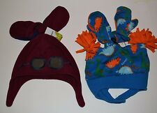 Jumping Beans Fleece Hat & Matching Mittens Dinosaur or Aviator 6-18 Months