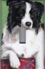 BLACK AND WHITE BORDER COLLIE HOME DECOR SINGLE  LIGHT SWITCH PLATE