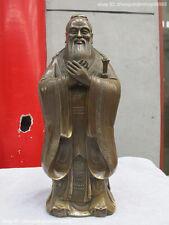 "16""China Folk old Bronze Confucius ""Kong Zi"" Sage Confucianism educator Statue"