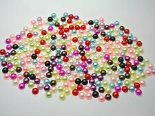 2000 Mixed Colour Acrylic Half Pearl Flatback Round Bead 4mm Nail Art Scrapbook