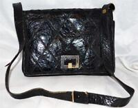 Berma Paris Black Croc Embossed Leather Diamond Design Shoulder Bag Purse