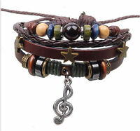 Jewelry Fashion Infinity Leather Charm Music Notes Bracelet Silver lots Beads