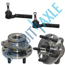 4 pc Set - 2 Complete Wheel Hub and Bearing Assembly + 2 Outer Tie Rod End