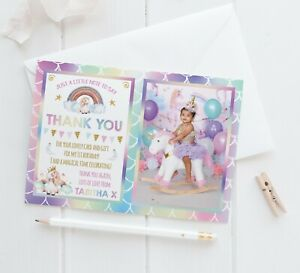 10 Personalised Photo Thank You Cards Unicorn Rainbow Glitter Effect Birthday