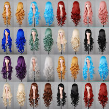 Women Fashion 80cm Long Curly Wavy Hair Synthetic Anime Cosplay Party Full Wigs