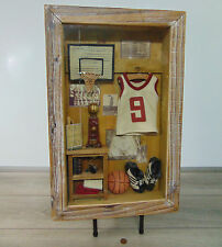 "BASKETBALL SHADOW BOX ART Hanging Wall Decor Boys Man Cave #9 Wood Frame 14x22"""