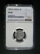 1895 South Africa 6 Pence NGC XF 40