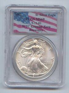 2001 American Silver Eagle World Trade Center Ground Zero Recovery, PCGS MS-69