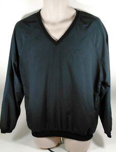 Ashworth Black V-Neck Golf Windshirt Large Made in USA