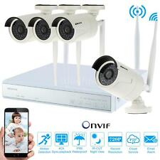 Wireless WiFi 4CH HD 720P IP Camera Outdoor Security System NVR KIT P2P US S6H1