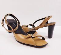 ETIENNE AIGNER Thruway Tan Leather Buckle Ankle Strap Sandal Low Heels  sz 7