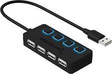1433114-sabrent a 4 porte Hub USB 2.0 con Interruttori di Alimentazione Individu