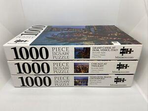 3x Mindbogglers 1000 Piece Jigsaw Puzzles Chicago Italy & Prague VGC 73cm x 58cm