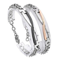 Women Men 'I Was Born To Love You' Lovers Zirconia Stainless Steel Curb Bracelet
