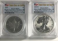 2019 W $1 & $5 SILVER PCGS PR70 FIRST DAY ISSUE PRIDE TWO NATIONS 2 COIN SET FDI