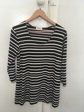MELA PURDIE black/white striped stretch long top 12 BNWOT