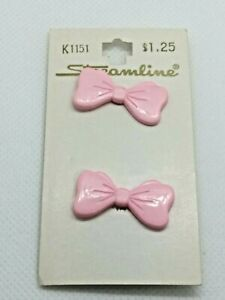 "Vintage Streamline Pink Bow Buttons 1 1/8"" Lot of 1 Card NOS MADE IN FRANCE"