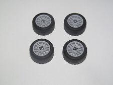 Lego ® Lot x4 Roue Voiture Jante Grise + Pneu Tire Car Wheel 11208 + 11209 NEW