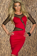 ROBE 36 38 ROUGE SEXY DISCO DRESS SOIRéE LINGERIE CLUBWEAR WOMAN DONNA VESTITO