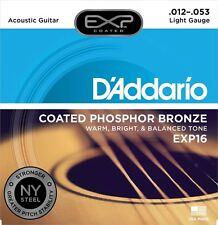 D'Addario Exp16 Light Steel Coated Acoustic Guitar Strings Ships Free U.S.
