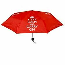 Keep CALM and CARRY ON ROSSO OMBRELLO PIEGHEVOLE CON COPERCHIO jdlp19579