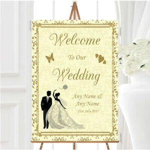 Gold Yellow Classic Personalised Any Wording Welcome To Our Wedding Sign