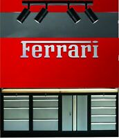 Ferrari Lettering Brushed Aluminum 4 Feet Wide Garage Sign Gift