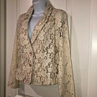 Cabi Beige Lace Blazer Jacket Sz 6 Tan Floral Lined Fitted Romantic Victorian Lk