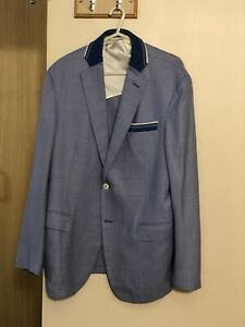 ZILLI Men's Blue Blazer Silk and Wool