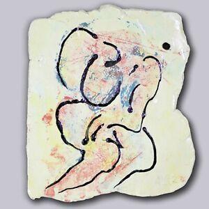"Image plate ""Melancholie"" 30cm unique ceramic Andreas Loeschner-Gornau"
