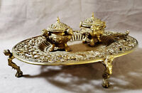 Antique Victorian Gargoyle Brass Double Inkwell Burner Footed Tray