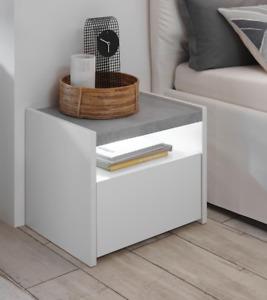 Coppia Comodino 1 Cassetto - Full - Bianco Opaco/Cemento