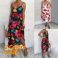 Plus Size Womens Floral Strappy Midi Dress Holiday Beach Loose Shirt Sun Dresses