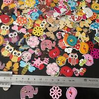 Flower Ladybird Butterfly Mixed Cartoon Wood Button DIY Craft Sewing Garment Acc