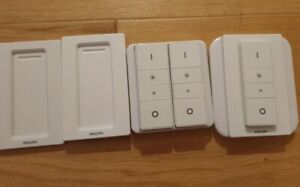 3 hue dimmer switches and wall plate converter.