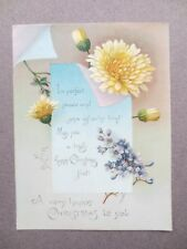 Antique CHRISTMAS Greetings Card Chrysanthemum Lilac Victorian Chromo Litho