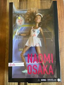 Barbie Role Models Naomi Osaka Doll Wearing Tennis Dress With Racket *IN HAND*